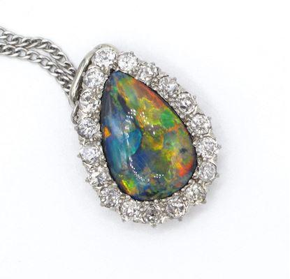 opal, pendant, harlequin, pear