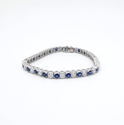 diamond, sapphire, bracelet, 18kwg