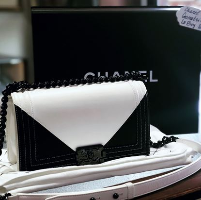 Picture of Chanel Black and White Geometric Boy Bag