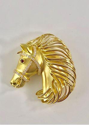 图片 18K  Gold Horse Brooch with Diamonds