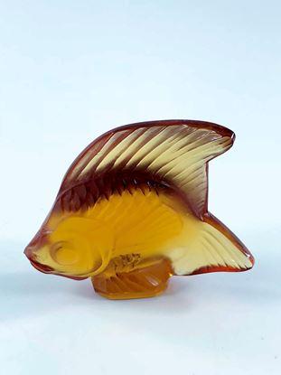 图片 Lalique Amber Crystal Fish