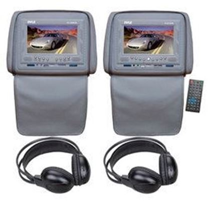 Image de 1 Adjustable Headrests w/ Built-In 7'' TFT/LCD Monitor W/IR Transmitter & Cover (Gray) + 1 Adjustable Headrests w/ Built-In 7'' TFT/LCD Monitor w/ Built in DVD Player & IR/FM Transmitter With Cover (Gray) + 2 Wireless IR Mobile Video Stereo Headph
