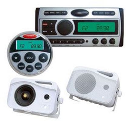 Image de 1.5-Din AM/FM Receiver / CD/CDR/MP3/AM-FM Marine Grade Player + 5'' 500 Watt 3-Way Weather Proof Mini Box System (White)+ Water Light Marine Remote Control
