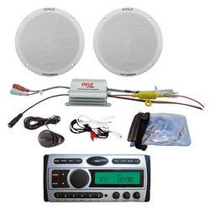 Image de 1.5-Din AM/FM Receiver / CD/CDR/MP3/AM-FM Marine Grade Player + 2 Channel Waterproof MP3/iPod Amplified 6.5'' Marine Speaker System