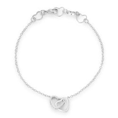Picture of .12 Ct Rhodium Interlocked Hearts Bracelet with CZ Accents