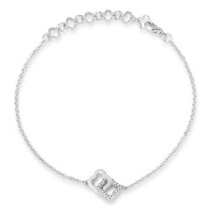 Picture of .1 Ct Rhodium Bracelet with Interlocking Floral Links