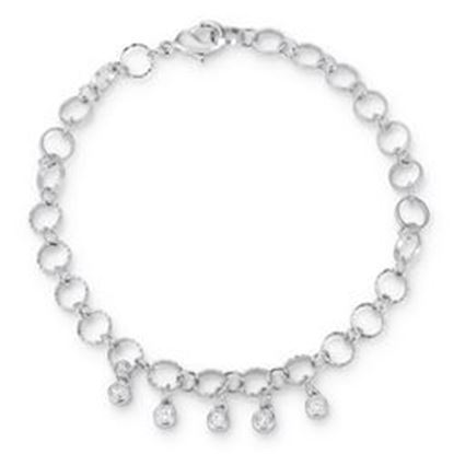"Picture of .55 Ct Stunning 8"" Rhodium Bracelet with CZ Charms"
