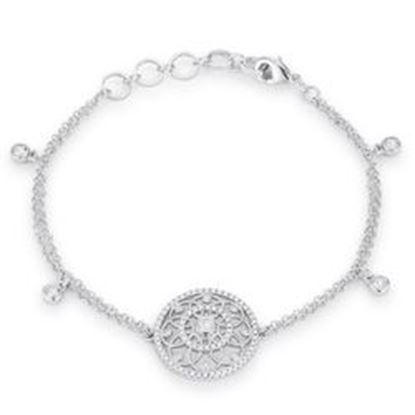 Picture of .5 Ct Rhodium Bracelet with Interlocking Circles and CZ