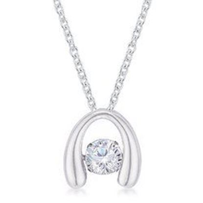 Picture of .85Ct Rhodium Plated Contemporary Horseshoe Dancing CZ Pendant