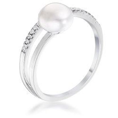 Picture of .15Ct Rhodium Plated Freshwater Pearl Ring With CZ Micro Pave Band