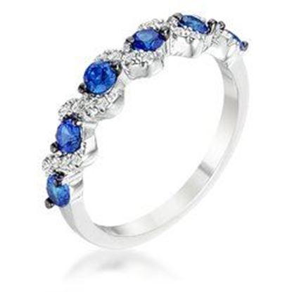 Picture of .18Ct Rhodium and Hematite Plated S Shape Sapphire Blue and Clear CZ Half Eternity Band
