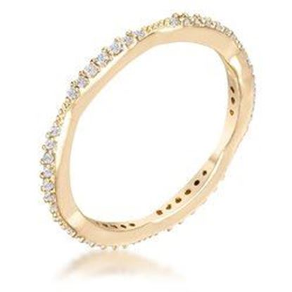 Picture of .42Ct Dainty 18k Gold Plated Micro Pave CZ Stackable Eternity Ring
