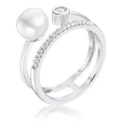 Picture of .15Ct Rhodium Plated CZ and Freshwater Pearl Contemporary Double Band Ring