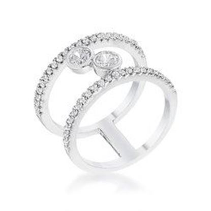 Picture of .86Ct Rhodium Plated Floating Bubbles CZ Ring