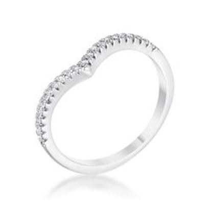 Picture of .22Ct Rhodium Chevron Ring with CZ
