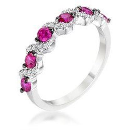 Picture of .18Ct Rhodium and Hematite Plated S Shape Fuchsia and Clear CZ Half Eternity Band