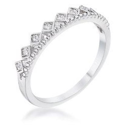Picture of .14Ct Rhodium Plated CZ Mini Crown Stackable Band