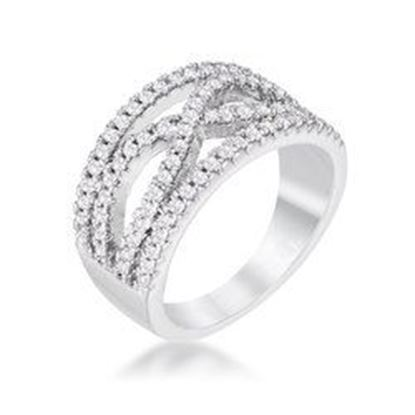 Picture of .4Ct Rhodium Plated Classic Twist Wide CZ Ring