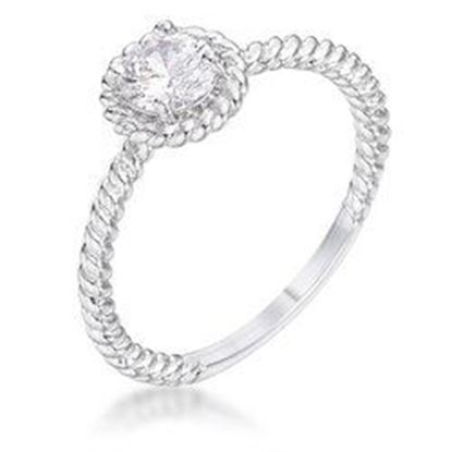 Picture of .45Ct Rhodium Plated Mini Twisted Rope CZ Solitaire Ring