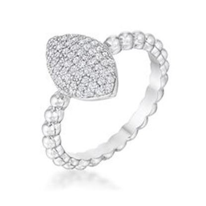 Picture of .3Ct Beautiful Oval-Designed Rhodium Ring With Clear CZ