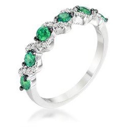 Picture of .18Ct Rhodium and Hematite Plated S Shape Emerald Green and Clear CZ Half Eternity Band