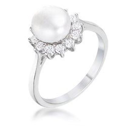 Picture of .36Ct Rhodium Plated Freshwater Pearl and CZ Halo Ring