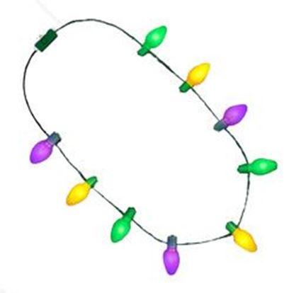 图片 2 Inch Purple, Green, Gold LED Flashing Party Value Lights Necklace for Mardi Gras