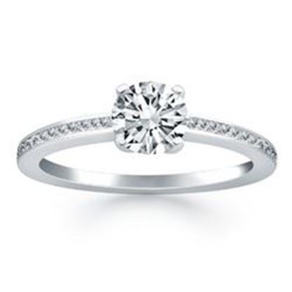 Picture of 14k White Gold Classic Pave Diamond Band Engagement Ring, size 6