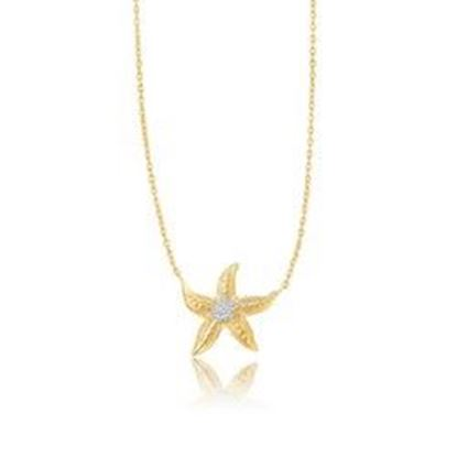 Picture of 14k Two-Tone Gold Sea Life Starfish Necklace, size 18''