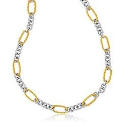 Picture of 14k Two-Tone Gold Long Cable Inspired and Round Link Necklace, size 17''