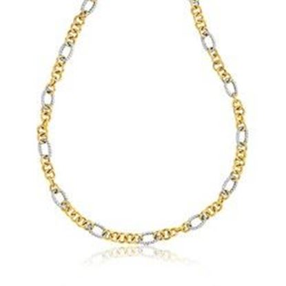 Picture of 14k Two-Tone Round and Cable Style Link Necklace, size 18''