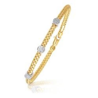 Picture of 14k Two-Tone Gold Diamond Accent Station Basket Weave Bracelet, size 7.25''