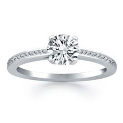 Picture of 14k White Gold Channel Set Cathedral Engagement Ring, size 6.5
