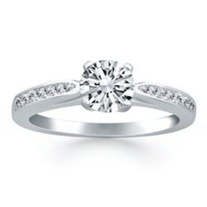 Picture of 14k White Gold Cathedral Engagement Ring with Pave Diamonds, size 6.5