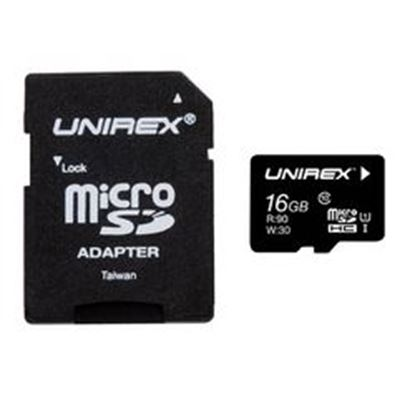 Image de Unirex MicroSD High Capacity 16GB Class 10 with SD Adapter and USB Reader