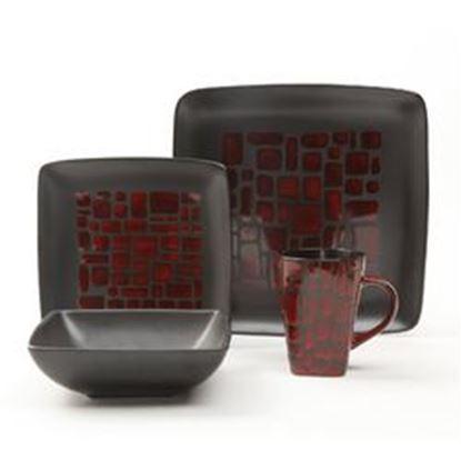 Image de Gibson Elite Cabazon 16 Piece Dinnerware Set, Red