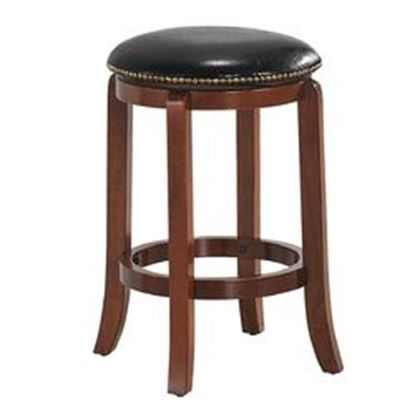 Picture of  Bistro Leather Padded  Backless Swivel Bar stool