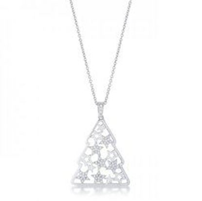 Picture of .2 Ct Cz Rhodium Christmas Tree With Mixed Stars Pave Holiday Pendant (pack of 1 ea)