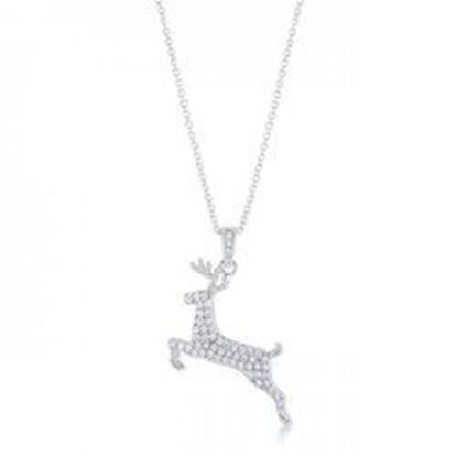 Picture of .35 Ct Cz Rhodium Reindeer Pave Holiday Pendant (pack of 1 ea)
