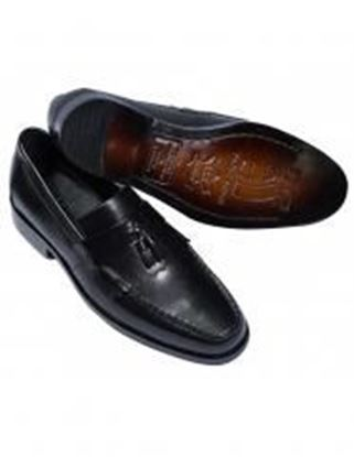 Classic Handmade Tasseled Leather Loafer Shoes - Black 9.5