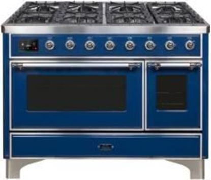 """ILVE 48"""" Majestic II Series Freestanding Dual Fuel Double Oven Range with 8 Sealed Burners, Triple Glass Cool Door, Convection Oven, TFT Oven Control Display, Child Lock and Griddle in Midnight Blue"""
