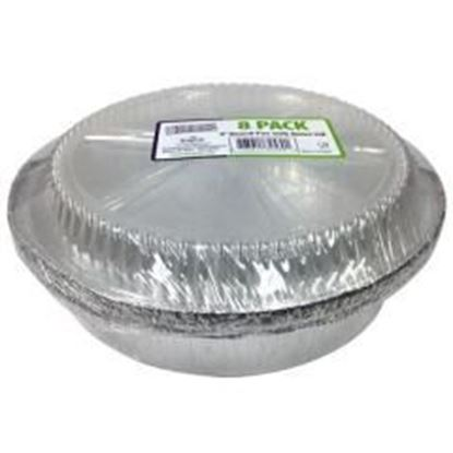 """9"""" Aluminum Round Pan with Plastic Dome Lid 8-Packs - Nicole Home Collection Case Pack 36"""