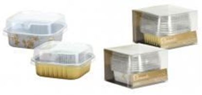 "2.75"" Aluminum Pans with Lids - Square - Gold - 5-Packs - Hanna K. Signature Elements Case Pack 36"