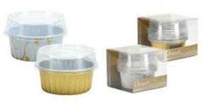 "2.5"" Aluminum Pans with Lids - Round - Gold - 5-Packs - Hanna K. Signature Elements Case Pack 36"