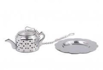 图片 [Silver Teapot] Creative Spice/Tea Ball Strainer Tea Filter With Drip Trays