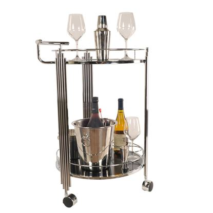"Picture of 17.5"" x 21"" x 30"" Chrome, Round, 2-Tier - Serving Trolley"