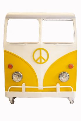 "Picture of 12.5"" X 53.5"" X 68.5"" Yellow and White Peace Van Wine Bar"