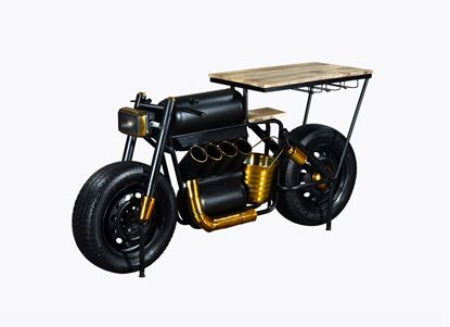 "Picture of 17"" X 70.5"" X 33"" Black and Gold Motorcycle Wine Bar"