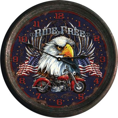 "Picture of 15"" Ride Free Rusted Clock"