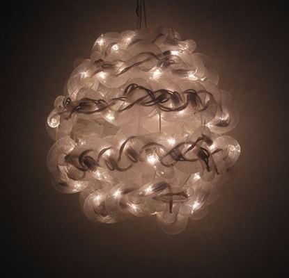 图片 10'' White Spun Tube Light Ball 1 Lights